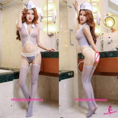 Sexy Sailor Uniform Fishnet Body Stocking Hosiery Costume Sleepwear Lingerie WL6047